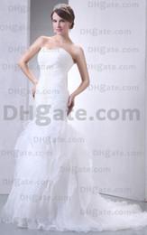 Wholesale New Arrival White Layers Fold Lace Up Wedding Dress WD038
