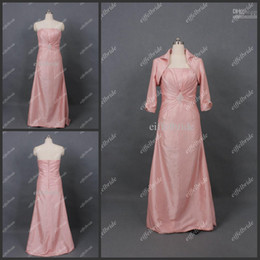 Wholesale Beautiful Strapless Beaded A Line Taffeta Mother of the Cheap Bride Dress With Long Sleeves Jacket