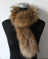 Wholesale On sale Highly Recommend genuine raccoon fur scarfs scarves wrap natural brown