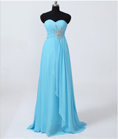 Wholesale Really Cheap Real Sample Empire Sheath Crystals Sweetheart Full Length Light Sky Blue Formal Sexy Bridesmaid Dress Prom Gowns