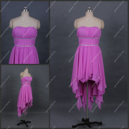 Wholesale Actural Girls Party Dress Strapless A line Short Front Long Back Purple Chiffon Prom Dress by LF