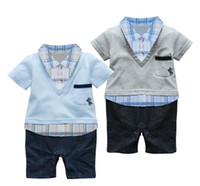 Wholesale Baby romper with plaid shirt and V neck sweater Short sleeved boy romper in preppy style colors