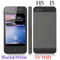 Wholesale Fashion New Unlocked Phone G H5 IP5 GPhone Dual Sim Camera WIFI TV Cell Phone Black amp White
