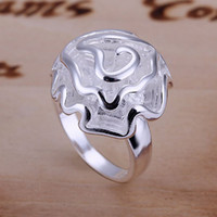 Wholesale Cheap New Fashion Jewelry Gift Silver Plated Top Charm Rose Wedding Ring Women YJ005