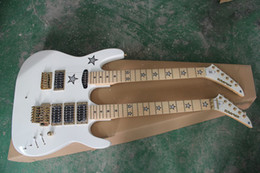 Guitare double cou en Ligne-Free Ship New White Double Neck Solid Body Guitar 12 cordes Guitares électriques
