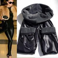 winter leggings - New Women Leggings Pants shiny Pencil high elastic Faux Leather double deck Warm Velvet Winter