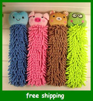 Wholesale Creative cartoon chenille hand towel animal multi colored super fiber hanging towels