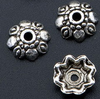 Wholesale MIC Tibetan Antiqued Silver Floral Bead Caps mmx10mmx3mm