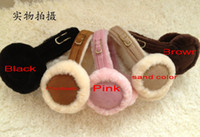 Wholesale 2012 Women s warm earmuffs sheepskin earflap ear muffs Christmas gift ear cover