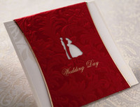 Invitation Cards Folded Red Red style CW1026 Wedding Invitations come with envelope and sealed 50pcs or 100pcs