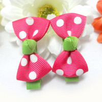 Wholesale 8pairs Baby Girls Polka Dot Hair Bow Clips Fashion Ribbon Hair bows