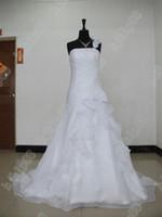 plus size wedding dresses - New Stylish Design Plus Size wedding dresses organza Ruffles One Shoulder Lace A line Bridal dresses
