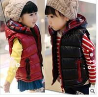 Wholesale Children winter boys and girls cute zipper cotton plaid hooded vest dandys