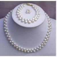Wholesale 2 Rows Genuine White Pearl Necklace Bracelet Earrings