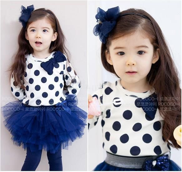 Cute Baby Girl in Blue Dress Baby Girl Dress White Bow Spot