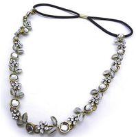 Wholesale Women s Jewely Charming Bronze Metal Crystal Rhinestone Leaf Flower Necklace Headband