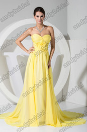 Wholesale 2012 Sexy Fashion Yellow Long A line Ruffle Chiffon Rude Back Celebrity Party Dresses Prom Dresses