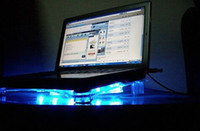 Wholesale USB Laptop Cooler Notebook Cooling pad stand with fans and blue LED light