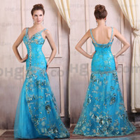 Wholesale Hot Arrival Spaghetti Straps Embroidery Blue Beauty Design V neck Evening Dress Designer Occasion Dresses ED030