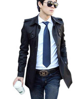 Cotton leather trench coat - MENS CASUAL TRENCH COAT SLIM FIT WIND COAT FOR MAN BRITISH STYLE P068