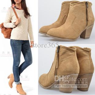 Women's Round Toe Low Heel Ankle Boots Buckle Around Ankle Boot ...