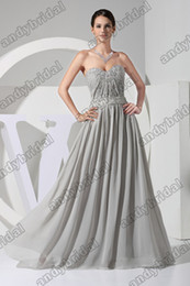 Wholesale 2013 Best Selling A line Floor Length Beads Ruffle Silver Celebrity Party Dresses Prom Dresses