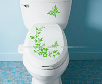 Wholesale Flowers Wall stickers Waterproof Toilet Stickers Bathroom Decal laptop Stickers