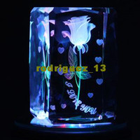 Wholesale 2012 new Rose D Laser Crystal Roating light Base Music Valentine Christmas Gift Decor