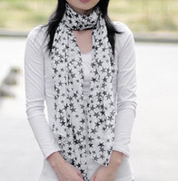 Wholesale Fashion Long Soft Wrap Scarf Five pointed Star Scarf Chiffon Shawll