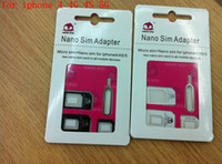 Wholesale 4 in Nano Sim amp Micro Sim amp Standard Sim Card Adapters for iphone S w Eject Pin Black
