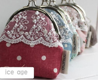 Wholesale Japan style fabric lace flower design coin bag mini purse coin purse