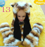 Wholesale 2012 Fashion Cartoon Animal hat Plush Soft Warm Cap fox FAUX FUR winter Hats Earmuff Scarf