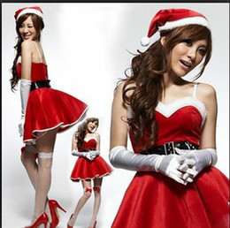 Wholesale 2014 Merry Christmas sets Women sexy christmas dress with shawl Santa costume lingerie Fedex best2011