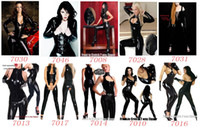 Wholesale 3pcs set Black Sexy Catsuit Wetlook Faux Leather Costume Erotic Clubwear Fetish Punk Gothic Dress
