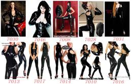 Wholesale 3pcs set Black Sexy Catsuit Wetlook Faux Leather Costume Erotic Clubwear Fetish Punk Gothic Dress