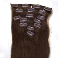 Wholesale 15inch Clip In Straight Remy Human Hair Extensions Medium Brown