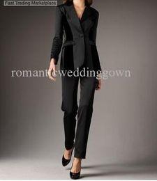 Wholesale Velvet Paneled Tuxedo Jacket Straight Leg Pants fashion women suit sets sale black custom made slim business suit with