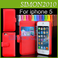 For Apple iPhone Leather Apple iphone 5 5G 5th Wallet ID Credit Card Stand PU Leather Case Cover Pouch Skin for iPhone 5 5G iPhone5 CASE mix color