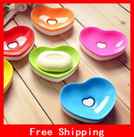 Wholesale Cute Double Heart Soap Box Lovely Bathroom Soap Holder Two Layers Soap Dish Holder Home Appliances