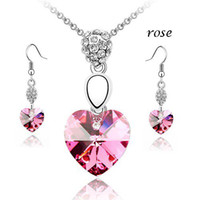 Wholesale Bling Bridal Jewelry Austrian Crystal Heart Jewelry Sets Fashion Crystal Jewelry sets JS012