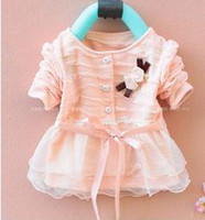 Wholesale Cute girls cardigan with flower lace with Ribbon princess red pink