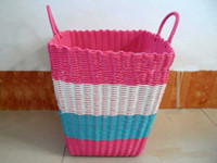 Wholesale colorful plastic knit Laundry basket dirty clothes basket dirty garment basket storage basket