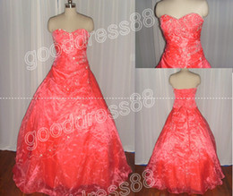 Wholesale Actual Images Peach Embroidery Sweetheart Floor Length Ball Gown Quinceanera Dresses G2772