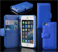 For Apple iPhone Leather  PU Wallet Credit Card Stand Leather Case Cover Pouch for iPhone 5 5G iPhone5 100pcs H905