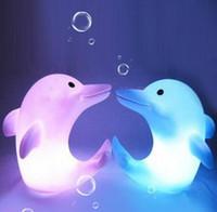 Wholesale FreeShip LED color Changing Dolphin Shape Flash Lamp Night Light Candle Retail Box Xmas Gift