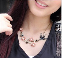 Christmas Necklace Lady Swallow Pink Flower 24pcs Lot Free S...