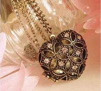 Wholesale Vintage Style Rhinestone Bronze Flower Locket D Heart Pendant Necklace