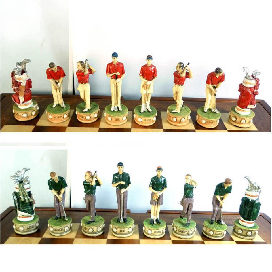 Colourful Oil Paint Golf Theme Chess Pieces,Chess Set From ...