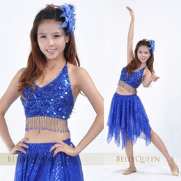 Wholesale Wholesales New Womens sexy Belly dance Stage costume Five flower bra tops and Sequins skirt set