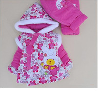 Wholesale Girl clothing set children winter outfits cotton jacket baby clothes with hoodie kids wear